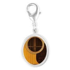 Acoustic Guitar Silver Oval Charm