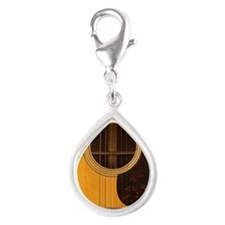 Acoustic Guitar Silver Teardrop Charm