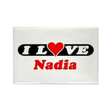 I Love Nadia Rectangle Magnet