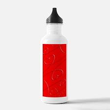 Red, Swirly Hearts Water Bottle