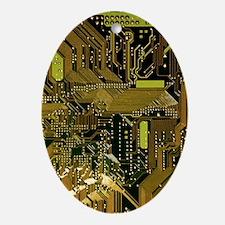 Circuit Board Oval Ornament