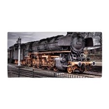 Vintage Locomotive Steam Train Beach Towel