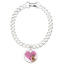 Yorkies Paws heart Charm Bracelet, One Charm