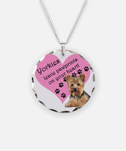 Yorkies Paws heart Necklace