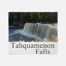 Tahquamenon Falls White Throw Blanket