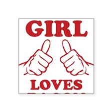 "This Girl Loves Bacon Square Sticker 3"" x 3"""
