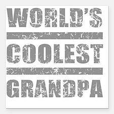 "Worlds Coolest Grandpa Square Car Magnet 3"" x 3"""