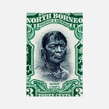 1931 North Borneo Headhunter Post Rectangle Magnet