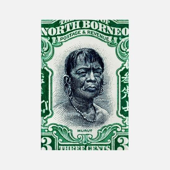1931 North Borneo Headhunter Post Rectangle Magnet