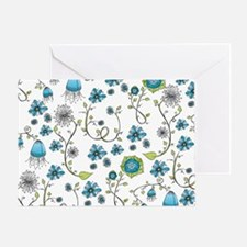 Whimsical blue flowers Greeting Card