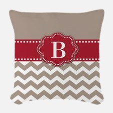 Red Taupe Chevron Monogram Woven Throw Pillow