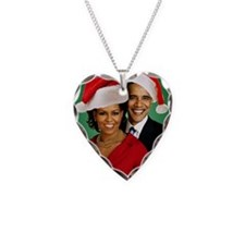 Obama Christmas Necklace Heart Charm