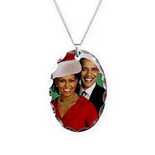 Obama Christmas Necklace Oval Charm
