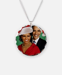 Obama Christmas Necklace Circle Charm