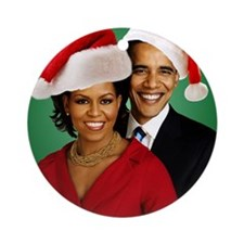 Obama Christmas Round Ornament