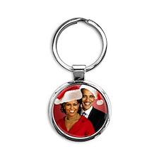 Obama Christmas Round Keychain