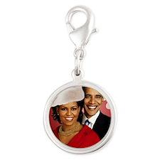 Obama Christmas Silver Round Charm