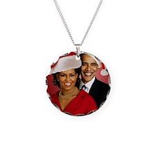 Obama Christmas Necklace Circle Charm