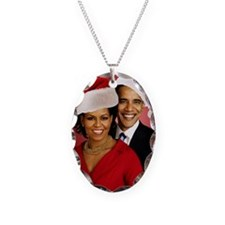 Obama Christmas Necklace Oval Charm