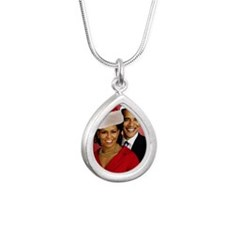 Obama Christmas Silver Teardrop Necklace