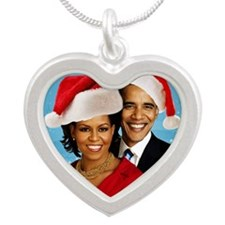 Obama Christmas Silver Heart Necklace