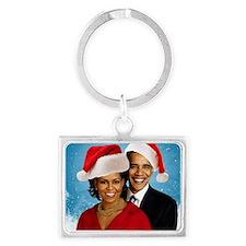 Obama Christmas Landscape Keychain