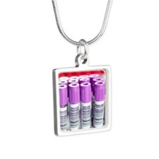 Blood samples Silver Square Necklace