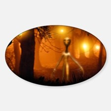 Alien emerging from a forest Sticker (Oval)