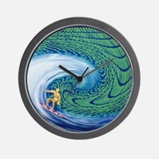 Abstract computer artwork of surfing th Wall Clock