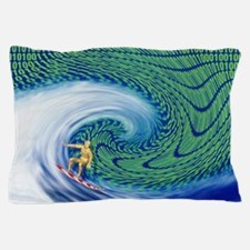 Abstract computer artwork of surfing t Pillow Case