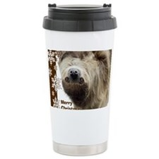 Sloth Xmas Card Snowfla Travel Mug