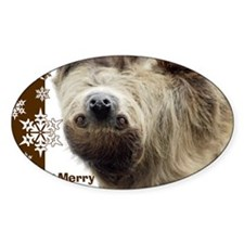 Sloth Xmas Card Snowflakes Decal