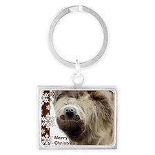 Sloth Xmas Card Snowflakes Landscape Keychain