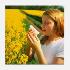 Young woman suffering from hay fever  Tile Coaster