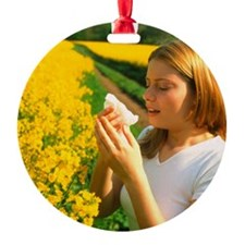 Young woman suffering from hay feve Ornament
