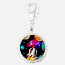 Art of space shuttle explorati Silver Round Charm