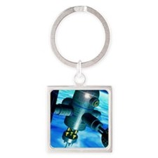 Artwork of a space station in Eart Square Keychain