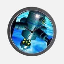 Artwork of a space station in Earth orb Wall Clock
