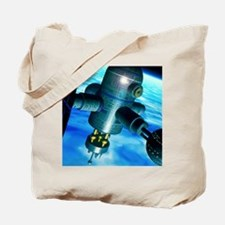 Artwork of a space station in Earth orbit Tote Bag