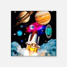 "Art of space shuttle explor Square Sticker 3"" x 3"""