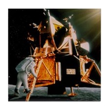 Artwork of Armstrong descending Lunar Tile Coaster