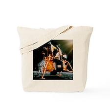 Artwork of Armstrong descending Lunar Mod Tote Bag