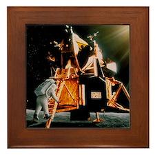 Artwork of Armstrong descending Lunar  Framed Tile