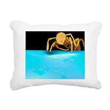 Ant on pressure sensor,  Rectangular Canvas Pillow