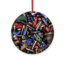 Assortment of batteries Round Ornament