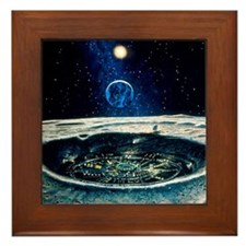 Artwork of a city in a crater on the M Framed Tile
