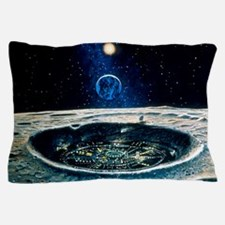 Artwork of a city in a crater on the M Pillow Case