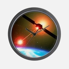 Artwork of a satellite destroying space Wall Clock