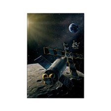 Artwork of lunar lander docking w Rectangle Magnet