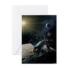 Artwork of lunar lander docking with Greeting Card